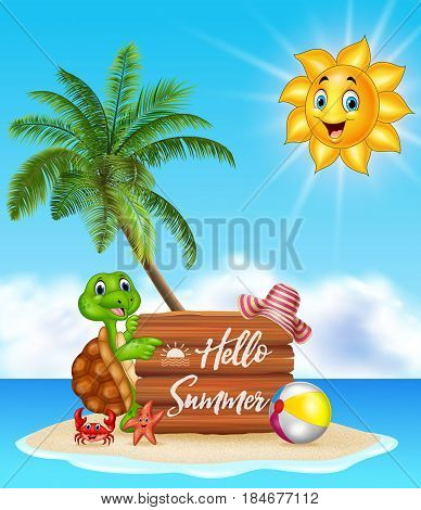 Vector illustration of Summer background with turtle and wooden sign