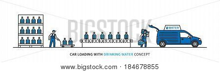 Car loading with drinking water vector illustration. Workers load potable water bottles into a car graphic design. Drinking water delivery service.