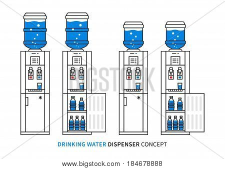 Drinking water dispenser vector illustration. Potable water dispensers with fridges graphic design.