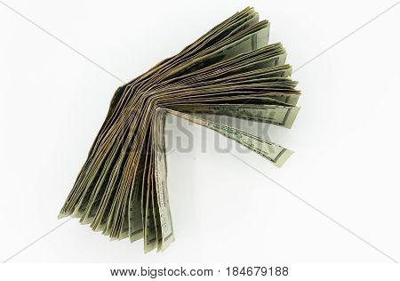 Twenty American Dollars Bills On A White Background