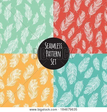 seamless pattern set with feathers on white colorful