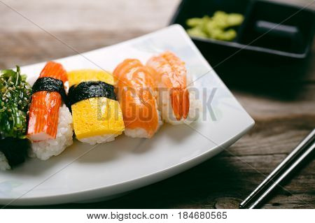 Closeup fresh and delicious maki and nigiri sushi