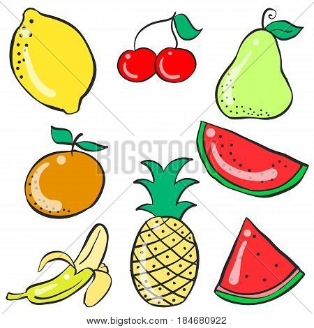 Collection stock of fruit colorful doodles vector art