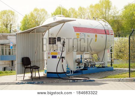 Liquid propane gas station. LPG station for filling liquefied gas into the vehicle tanks.