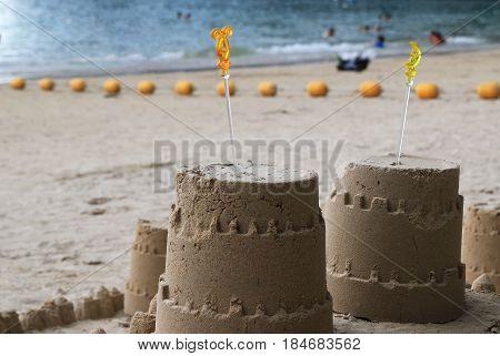 Travel to Krabi Thailand. Sand castle on a beach.