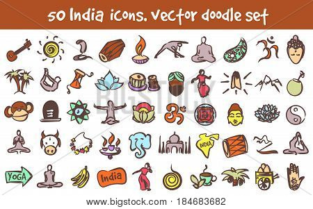 Vector doodle India icons set. Stock cartoon signs for design.