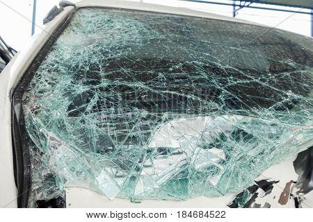 Broken car windshield. Accident of van car