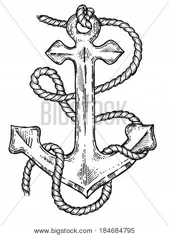 Anchor and rope engraving vector illustration. Scratch board style imitation. Hand drawn image.