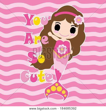 Cute mermaid girl say hello on pink striped background vector cartoon, children postcard, wallpaper, and greeting card, T-shirt design for kids