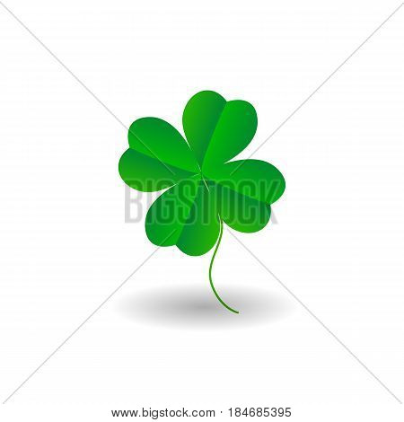 Four leaf clover icon. Green herb Isolated on white. St Patrick day vector. Flat design.