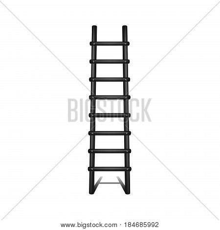 Wooden ladder in black design with shadow leading up on white background