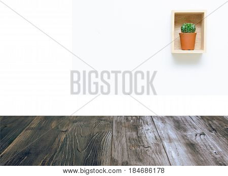 vintage wood terrace with mini cactus in pot and wooden box on white background copy space color tone effect soft focus selective focus.;