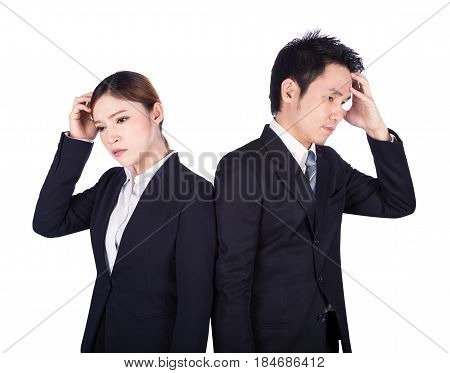 Worried Business Man And Woman Isolated On White
