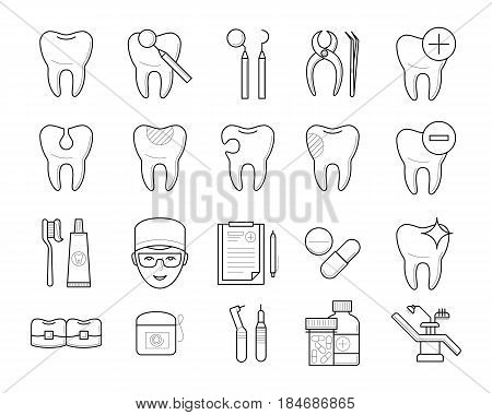 Icons of tooth hygiene tools, dental equipment in thin line style: implant, toothbrush, toothpaste, braces, floss, prescription and pills. Vector outline simple illustrations isolated on white