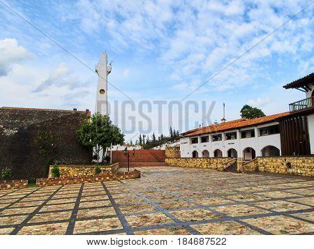 GUATAVITA CUNDINAMARCA COLOMBIA - JANUARY 21 2014: The obelisk of the picturesque city of Guatavita in Cundinamarca Colombia.
