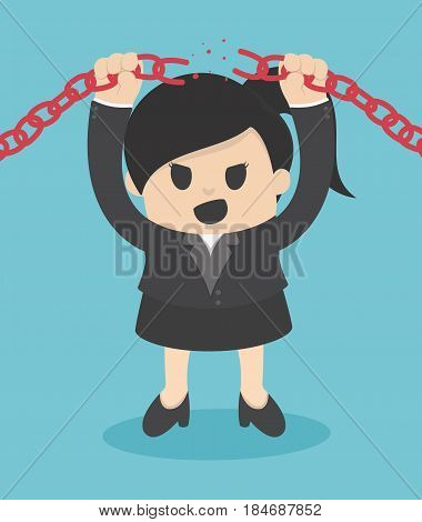Business Woman breaking metal chain with hands