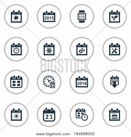 Vector Illustration Set Of Simple Time Icons. Elements Summer Calendar, Renovation Tools, Deadline And Other Synonyms Data, Sun And Almanac.