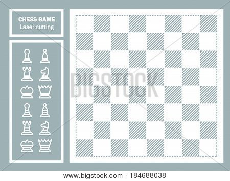 Chess game decorative laser cut. Geometric ornament. chessboard and chess pieces. Template for laser cutting of metal, wood, paper. Souvenir gift. Handmade. Vector illustration.