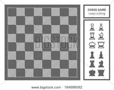 Chess game decorative laser cut. Geometric ornament. Template for laser cutting of metal, wood, paper. Souvenir gift. Handmade. Vector illustration.