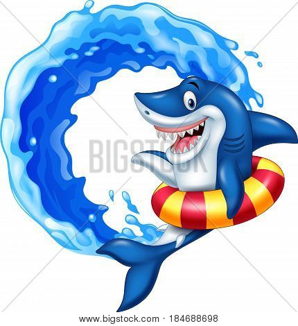 Vector illustration of Cartoon shark with inflatable ring
