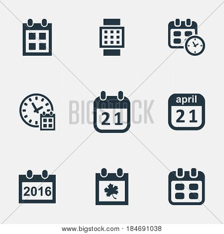 Vector Illustration Set Of Simple Date Icons. Elements Deadline, 2016 Calendar, Event And Other Synonyms Date, Calendar And Hour.