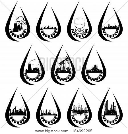 Set the petroleum industry icons. The illustration on a white background.
