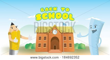 Back To School Heading And Character Cartoon Design Of Pencil And Ruler With  Brick School Building