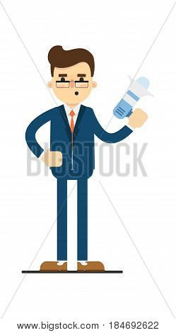 Young concentrated businessman hold megaphone isolated on white background vector illustration. Smiling man in blue business suit in flat design.