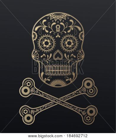 Sugar Skull day of the dead golden illustration with crossed bones.