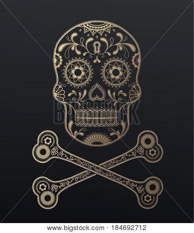 Sugar Skull day of the dead golden illustration with crossed bones.