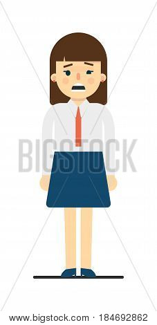 Frustrated young woman in uniform isolated on white background vector illustration. Beautiful pretty school girl in blouse and skirt in flat design.