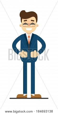 Happy businessman with hands on waist gesture isolated on white background vector illustration. Smiling man in blue business suit in flat design.