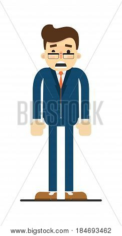 Frightened businessman isolated on white background vector illustration. Standing man in blue business suit in flat design.