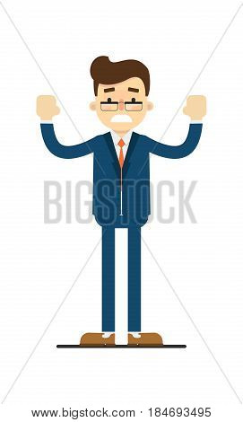 Frustrated businessman with hands to side gesture isolated on white background vector illustration. Standing man in blue business suit in flat design.