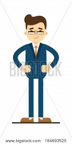 Skeptical smile businessman with hands on waist gesture isolated on white background vector illustration. Smiling man in blue business suit in flat design.