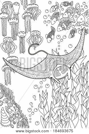 Hand drawn swimming manta with high details for anti stress coloring page, illustration in tracery style. Sketch of a fish in high detailed background in zentangle style. Vector.
