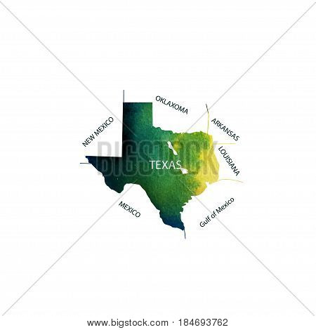 Texas. Watercolor territory U.S. state of Texas with the names of neighboring States. Vector illustration