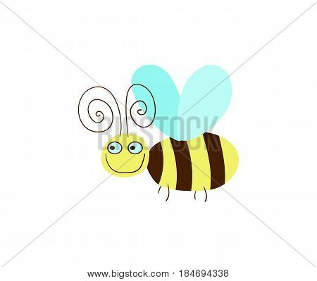 Funny honeybee vector illustration isolated on white background. Cute insect, comic bug, smiling wildlife character in cartoon style.