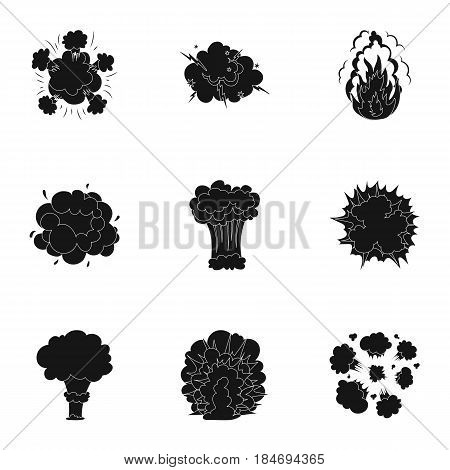 A set of icons about the explosion. Various explosions, a cloud of smoke and fire.Explosions icon in set collection on black style vector symbol stock web illustration.