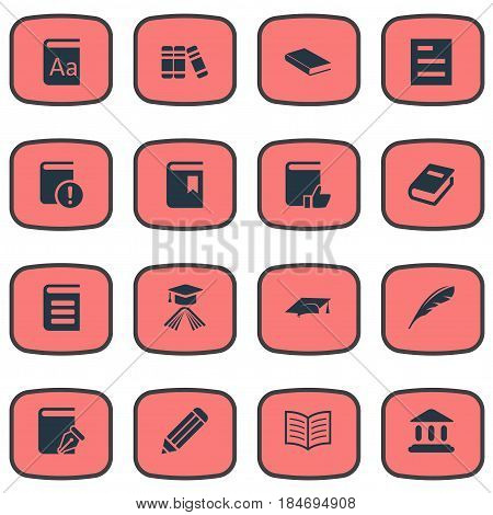Vector Illustration Set Of Simple Books Icons. Elements Academic Cap, Notebook, Pen And Other Synonyms Encyclopedia, Hat And List.