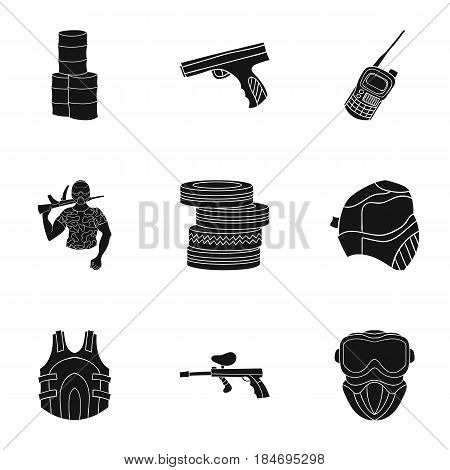 A collection of pictures about the game in paintball. The balloons with paint.Paintball icon in set collection on black style vector symbol stock web illustration.