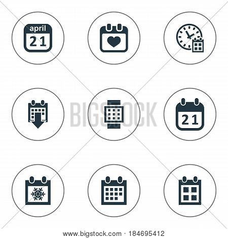 Vector Illustration Set Of Simple Calendar Icons. Elements Deadline, Remembrance, History And Other Synonyms Agenda, History And Data.