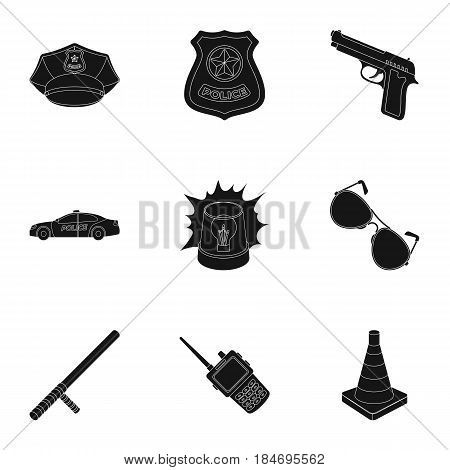 Police equipment, police, prisoners, protection of citizens.Police icon in set collection on black style vector symbol stock web illustration.