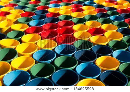Colorful patterns of PVC plastic pipe cut with copy space for text and background. Abstract pattern plastic pipe.