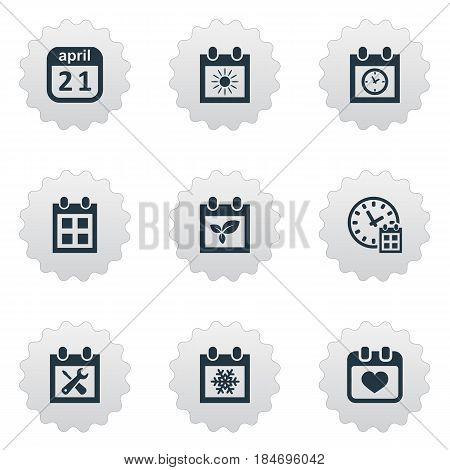 Vector Illustration Set Of Simple Date Icons. Elements Plant, Planner, Deadline And Other Synonyms Calendar, Reminder And Date.