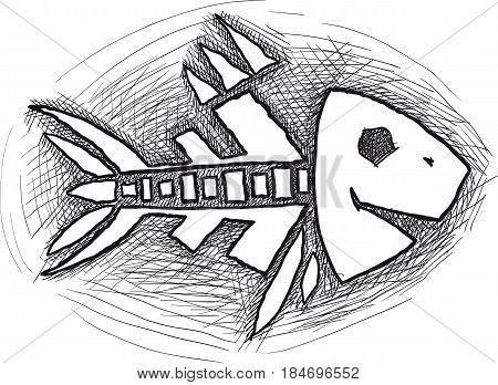 Doodle fish skeleton isolated on white background