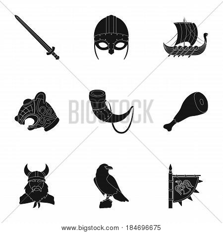Ancient warriors of the Vikings on the ship. Outfit and symbols of the Vikings.Vikings icon in set collection on black style vector symbol stock web illustration.