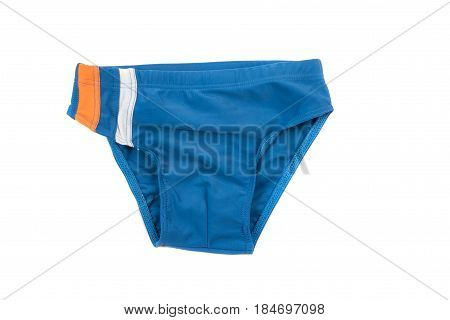 Blue children's swimming trunks. Bathing suit for boy isolated on white