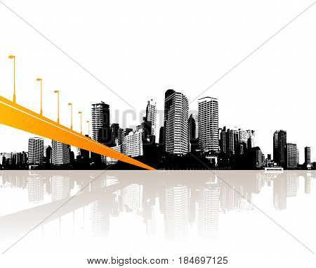 Black and white cityscape with water reflection and orange bridge.