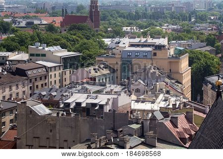 Aerial view of the roofs of houses in the northeastern historic part of Krakow. Poland. View from St Mary's Cathedral.